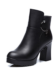 cheap -Women's Shoes Microfibre Winter Fur Lining Boots Round Toe Booties/Ankle Boots Zipper for Dress Party & Evening Black Red
