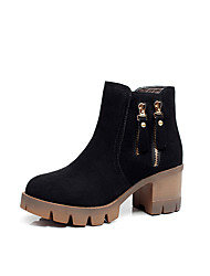 cheap -Women's Shoes Flocking Winter Fur Lining Boots Chunky Heel Round Toe Booties/Ankle Boots Zipper For Casual Office & Career Black