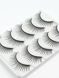 preiswerte -5 Wimpern Augenwimpern Vollbandwimpern Natürlich lang Handgemacht Faser Black Band
