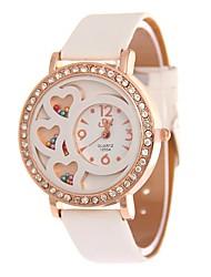 Mulheres Relógio Elegante Relógio de Pulso Simulado Diamante Relógio Chinês Quartzo PU Banda Branco Azul Vermelho Roxa