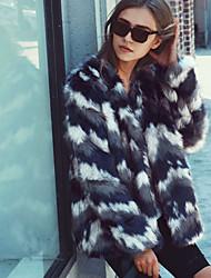 cheap -Women's Daily Work Simple Casual Winter Fall Plus Size Regular Fur Coat, Striped Color Block Round Neck Rabbit Fur Raccoon Fur