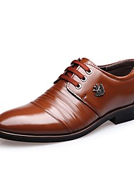 cheap -Men's Shoes Leather Spring Fall Formal Shoes Oxfords Lace-up For Casual Office & Career Dark Brown Light Brown Black