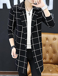 cheap -Men's Daily Casual Regular Cardigan,Striped Shirt Collar Long Sleeves Polyester Fall Medium Micro-elastic