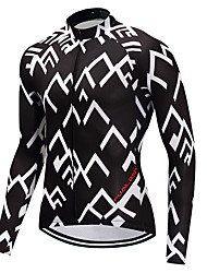 cheap -FUALRNY® Men's Long Sleeves Cycling Jersey - Black/White Bike Jersey, Quick Dry
