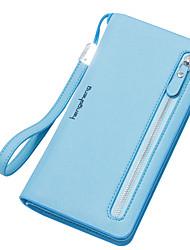 cheap -Women Bags PU Wallet Zipper for Shopping Casual All Seasons Black Red Blushing Pink Yellow Sky Blue