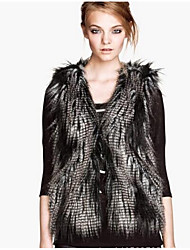 cheap -Women's Daily Simple Casual Winter Fall Fur Coat,Animal Print V Neck Regular Raccoon Fur