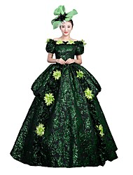 Victorian Rococo Female Adults' Party Costume Masquerade Dark Green Cosplay Satin Short Sleeves Floor Length