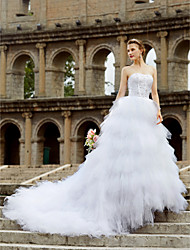 cheap -Ball Gown Sweetheart Court Train Tulle Wedding Dress with Beading Ruffles by LAN TING BRIDE®