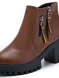 baratos -Feminino Sapatos Couro Ecológico Courino Outono Inverno Botas da Moda Conforto Botas Ponta Redonda Botas Cano Médio Ziper Para Casual