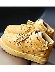 Boys' Shoes Real Leather Spring Fall Comfort Sneakers For Casual Yellow White