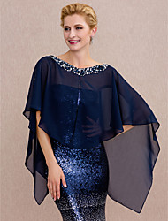 cheap -Chiffon Wedding Party / Evening Women's Wrap With Beading Buttons Capes