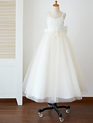 Princess Floor Length Flower Girl Dress - Tulle Sleeveless Spaghetti Straps with Appliques Bow(s) by LAN TING BRIDE®