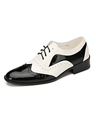 cheap -Men's Modern Faux Leather Flat Professional Splicing Flat Heel Black-white