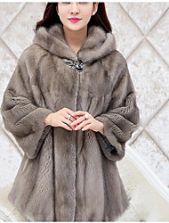 cheap -Women's Daily Simple Casual Winter Fall Fur Coat,Solid Hooded Long Sleeve Long Others