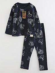 Girls' Striped Cartoon Sleepwear-Cotton-Fall Long Sleeve