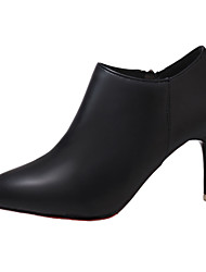 cheap -Women's Shoes PU Fall Bootie Boots Stiletto Heel Pointed Toe Booties/Ankle Boots Zipper for Casual Office & Career Black Red