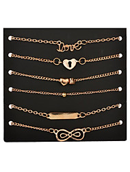Women's Charm Bracelet Friendship Personalized Alloy Heart Infinity Jewelry For Gift Daily Casual Evening Party Stage Date Street Festival