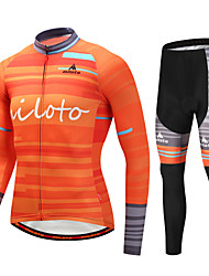 Недорогие -Miloto Муж. Длинный рукав Велокофты и лосины - Оранжевый Велоспорт Наборы одежды Зима