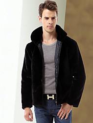 cheap -Men's Daily Simple Casual Winter Fall Fur Coat,Solid Shirt Collar Long Sleeve Short Faux Fur
