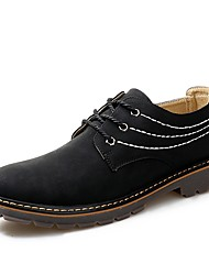 cheap -Men's Shoes Leather Spring Fall Comfort Oxfords Lace-up for Casual Black Coffee Khaki