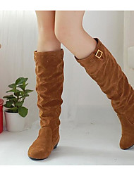 cheap -Women's Shoes Nubuck leather Fall Winter Comfort Fashion Boots Boots Knee High Boots For Casual Dark Brown Yellow Black