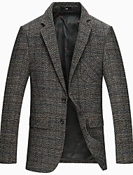 cheap -Men's Party Work OL Style Office/career Korean Winter Fall Blazer,Solid Shirt Collar Long Sleeve Regular Wool Polyester