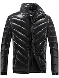 cheap -Men's Regular Padded Coat,Casual Daily Plus Size Solid-Cotton Polyester Polyester Long Sleeves