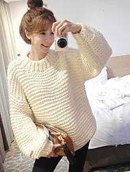 economico -Standard Pullover Da donna-Casual Semplice Tinta unita Girocollo Manica lunga Cotone Inverno Medio spessore Media elasticità