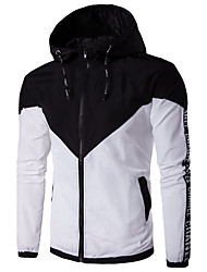 cheap -Men's Daily Going out Simple Casual Spring Fall Regular Jacket,Solid Hooded Polyester Others