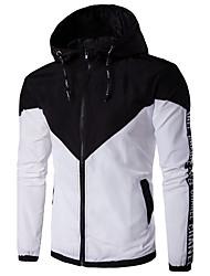 preiswerte -Herren Solide Einfach Ausgehen Lässig/Alltäglich Jacke,Mit Kapuze Frühling Herbst Lange Ärmel Standard Polyester Andere