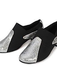 cheap -Women's Salsa Shoes Honeycomb / Elastic Satin Full Sole Training Sequin / Splicing Low Heel Dance Shoes Black / Black / Silver