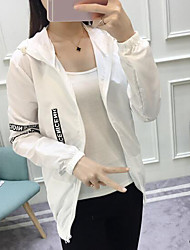cheap -Women's Daily Simple Casual Fall Jacket,Letter Hooded Long Sleeve Regular Others