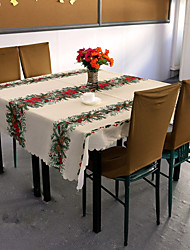 cheap -Christmas Flower Tablecloth Polyester Cover Christmas Table Cloth 150*180Cm