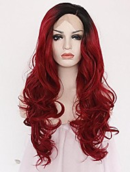 cheap -Women Synthetic Wig Lace Front Medium Length Long Natural Wave Body Wave Water Wave Curly Loose Wave Deep Wave Wavy Red Lolita Wig Drag