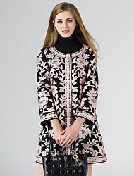 baratos -Feminino Casaco Longo Para Noite Tamanhos Grandes Vintage Moda de Rua Sofisticado Outono Inverno,Estampa Colorida Padrão Poliéster Decote