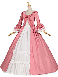 Medieval Renaissance Costume Female Party Costume Masquerade Pink Vintage Cosplay Other Cotton Long Sleeves Cap