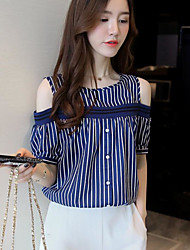 cheap -Women's Going out Casual Shirt,Striped Off Shoulder Short Sleeves Cotton Acrylic