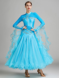 Ballroom Dance Dresses Women's Performance Spandex Tulle Milk Fiber Crystals/Rhinestones Appliques 1 Piece Long Sleeve Natural Dress