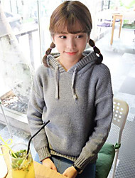 Women's Casual/Daily Vintage Regular Pullover,Solid Hooded Long Sleeves Acrylic Spring Thin Micro-elastic