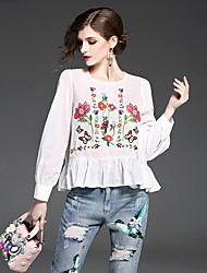 cheap -Women's Daily Sophisticated Shirt,Embroidery Round Neck Long Sleeves Cotton