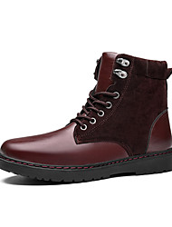 cheap -Men's Shoes Leather Fall Winter Comfort Fashion Boots Combat Boots Boots Lace-up For Casual Outdoor Burgundy Black