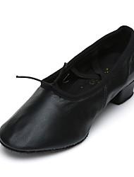 cheap -Women's Jazz Shoes Leatherette Practice Chunky Heel Customizable Dance Shoes Black