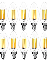 cheap -10pcs 6W E14 LED Filamnent Bulbs C35 6 COB 560LM Warm/Cool White Color Edison Blunt AC220-240V