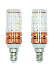 2pcs 12W E14 LED Corn Lights T 60 leds SMD 2835 Warm White White Dual Light Source Color 1000lm 3000-3500  6000-6500  3000-6500K AC
