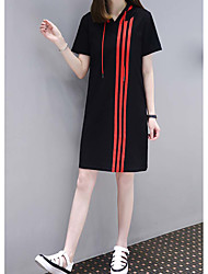 cheap -Women's Daily Loose Shift Dress,Striped Hooded Above Knee Short Sleeves Cotton Summer Mid Rise Stretchy Thin