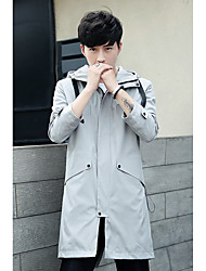Men's Casual/Daily Simple Fall Jacket,Solid Shirt Collar Long Sleeve Regular Polyester