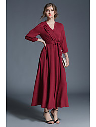 cheap -Women's Party Going out Casual Sexy Street chic Sheath Swing Dress,Solid V Neck Maxi 3/4 Length Sleeves Polyester Winter Fall High Rise