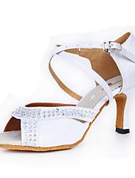 Недорогие -Для женщин Латина Шёлк На каблуках Для закрытой площадки Хрусталь С пряжкой Высокий каблук Белый Персонализируемая