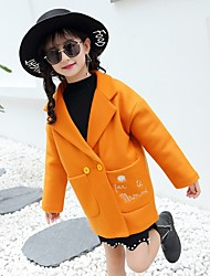 cheap -Girls' Cartoon Jacket & Coat,Wool Cotton Winter Fall Cute Casual Active Yellow