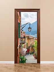 cheap -DIY 3D Door Mural Sticker Old Town Living Room Bedroom Street Light House Door Decals Home Decoration Italy Town of Lake Como Decals 77*200cm